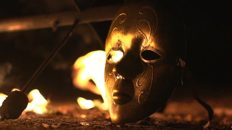 carnaval mask on fire footage