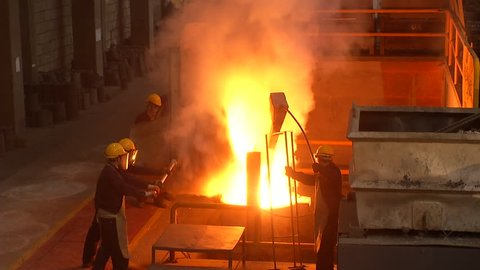 Smelting plant in a factory. Mining and metal rolling.