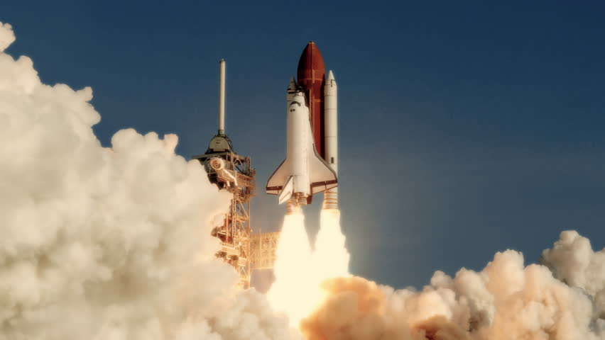 Space Shuttle launch in slow motion. (NASA logo removed) Elements furnished by NASA. Broadcast quality animation rendered at 16-bit color depth. 4K UHD.