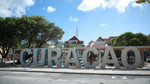 Willemstad, Curacao - DEC 19, 2012: Sign Curacao downtown on a sunny day