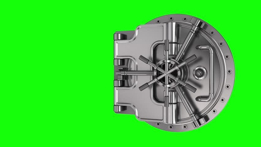 Opening a round-the-door bank safe deposit box on a chroma key