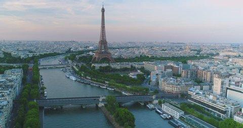 Paris Aerial Seine river Eiffel Tower sunset
