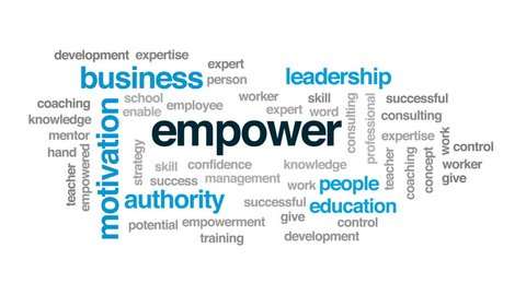 Empower animated word cloud, text design animation.