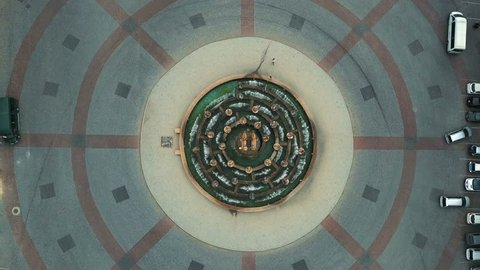 aerial view of the central part of Kutaisi, Georgia Colchis Fountain