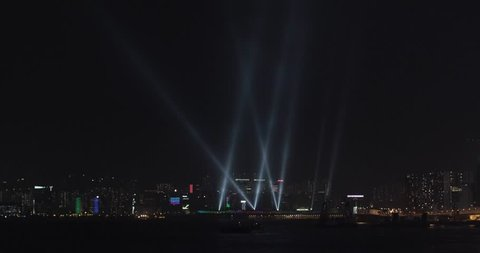 Decorative Searchlights Reflectors at Night in Hong Kong