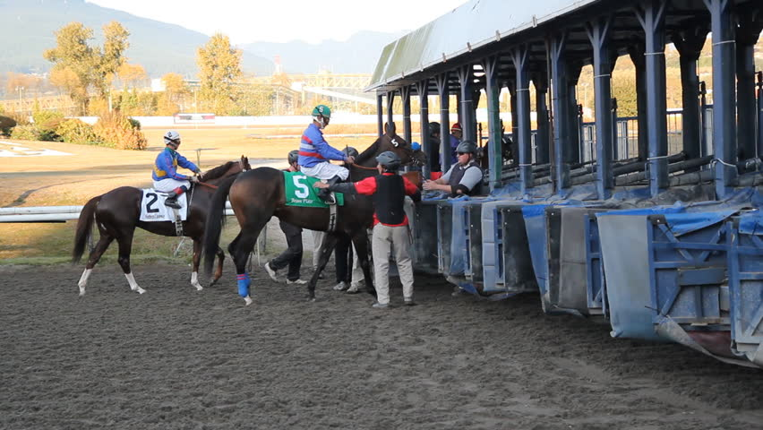 VANCOUVER, BC – OCTOBER 8th: Horse race at Hastings Racecourse on October 8th, 2012 in Vancouver, BC, Canada.  Hastings Racecourse is four miles from downtown Vancouver, British Columbia, Canada.