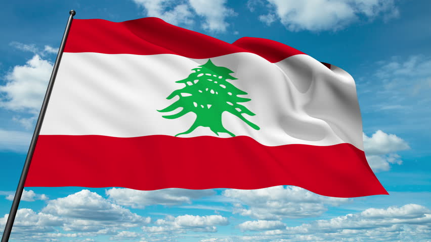 Lebanon Flag Waving Against Time Lapse Stock Footage Video