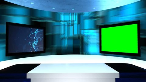 Virtual studio with a table and two TV screens. Virtual tv studio is designed to be used as a virtual background in a green screen or chroma key video production. Seamless looping.