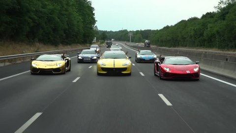 Highway full of super cars