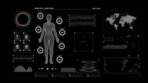 4K Animation HUD head up display interface with women wire frame body for heath care and medical futuristic technology concept