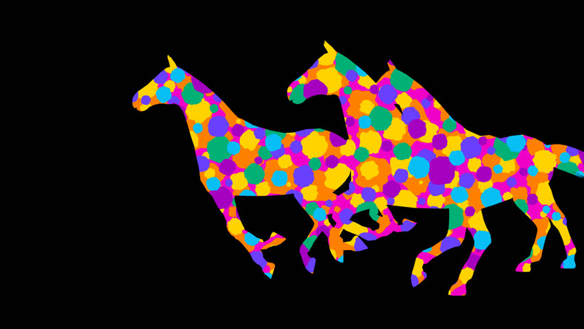 Stylized horses. 7 different animations. Alpha channel. Alpha matte. 4K.