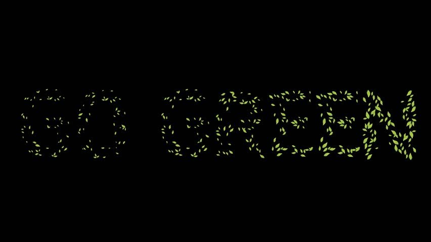 go green word in green leaf theme with 60fps motion animated graphic