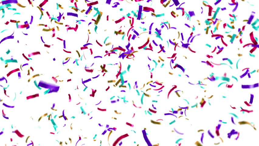 Animation of colorful confetti falling. Loop ready animation.