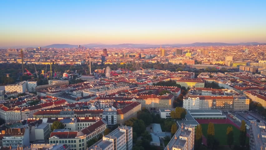 Vienna aerial view of prater amusement park and city center at sunrise | Shutterstock HD Video #30425395