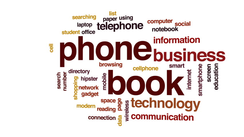 Phone book animated word cloud, text design animation. | Shutterstock HD Video #30425485