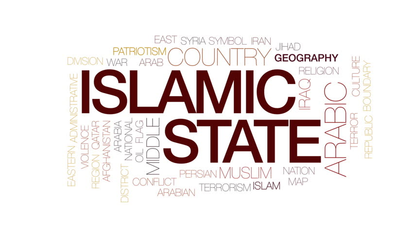 Islamic state animated word cloud, text design animation. Kinetic typography. #30429229