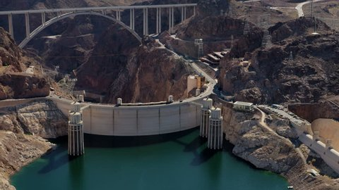 Aerial View Hoover Dam Lake Stock Footage Video (100% Royalty-free