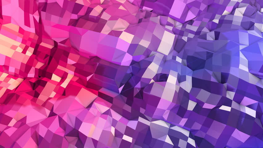 Abstract simple blue red low poly 3D surface as geometric structure. Soft geometric low poly motion background with pure blue red polygons. 4K Fullhd seamless loop background with gradient blue red