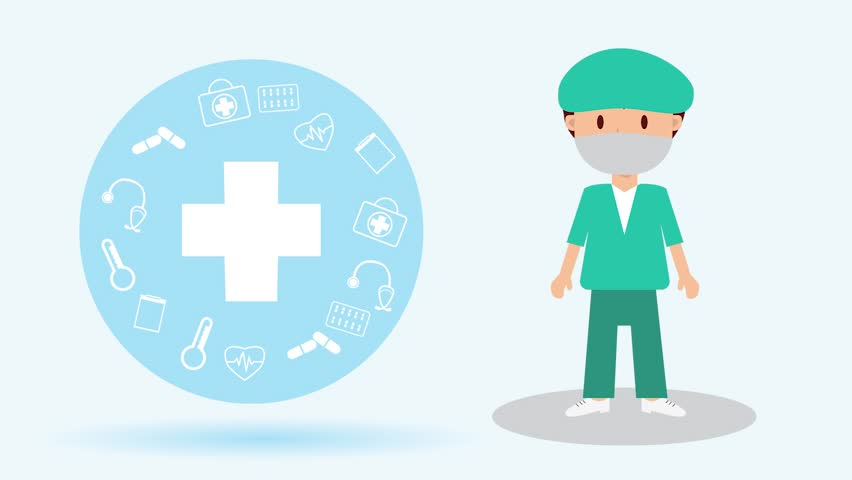 The  professional medical team for health life concept with logo, little doctor boy, girl in gown suit and cartoon act.