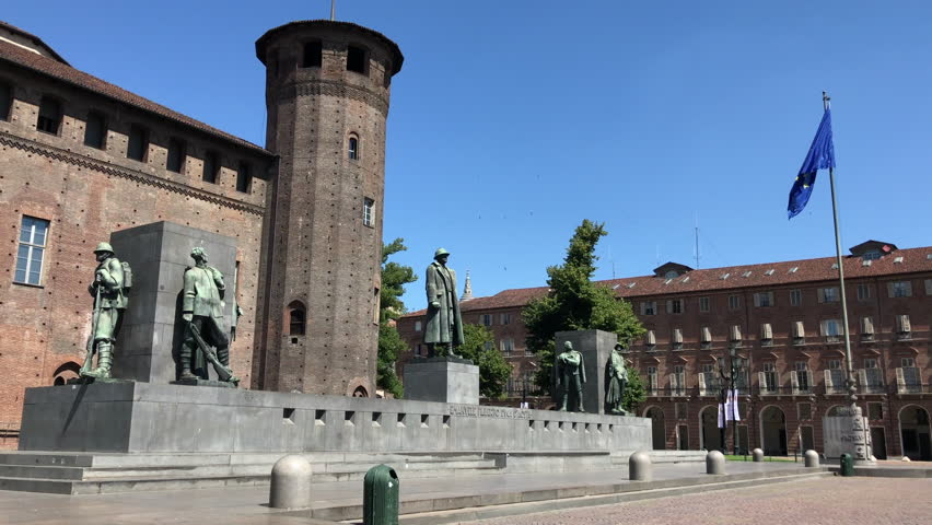 The statue of Emanuele Filiberto Duke of Aosta and Savoy, placed in front of the Casaforte of Acaja in Castle square in Turin, Italy