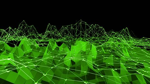Green low poly background waving. Abstract low poly surface as corporate background in stylish low poly design. Polygonal mosaic background with vertex, spikes. Cartoon modern 3D design Free space