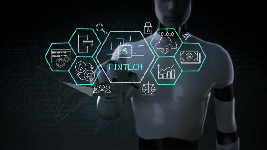 Robot, cyborg touching Fin-tech icon and various graph. Financial Technology.