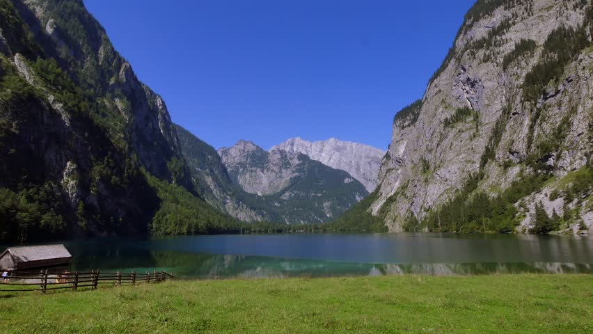 View of the Obersee Lake behind the Watzmann massif, Salet am Koenigssee, Berchtesgaden National Park, Bavaria, Upper Bavaria, Germany, Europe