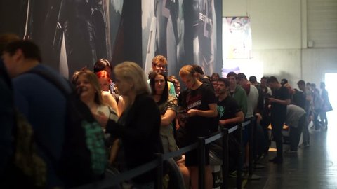 Long queues. Many people are waiting in line for various games at gamescom. The gamescom is the world's largest gaming fair and has been held since 2009 in Cologne. Shot on 25 August 2017.