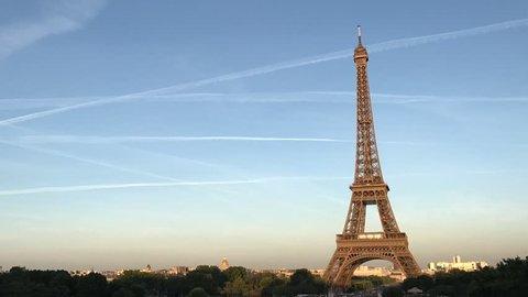 Time-lapse on Eiffel Tower, Paris, France. Time Lapse Sunset Eiffel Tower Paris Central Landmark Visited Romantic Place