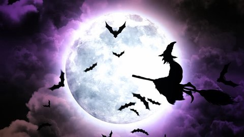 Halloween background animation with the concept Moon and Bats and Flying Witches
