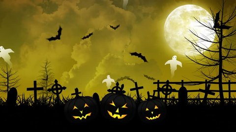 Halloween background animation with the concept of Spooky Pumpkins, Moon and Bats and Cemetery and Ghosts.