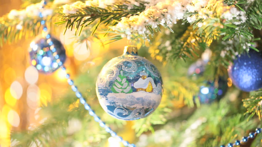 Christmas Ball with Christmas Village on Christmas Tree. New Year Decoration. Hand painted decoration ball.  | Shutterstock HD Video #3058303