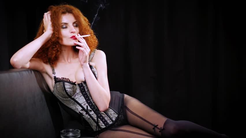 ROBERTA: Naughty redhead wearing lingerie classic