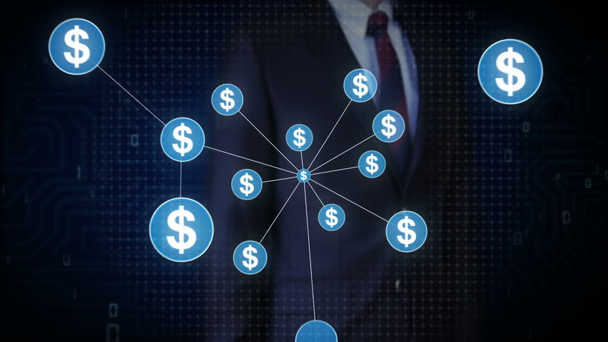 Businessman touching Dollar currency symbol, Numerous dots gather to create a Dollar currency sign, dots makes global world map, internet of things. financial technology 1. | Shutterstock HD Video #30618385