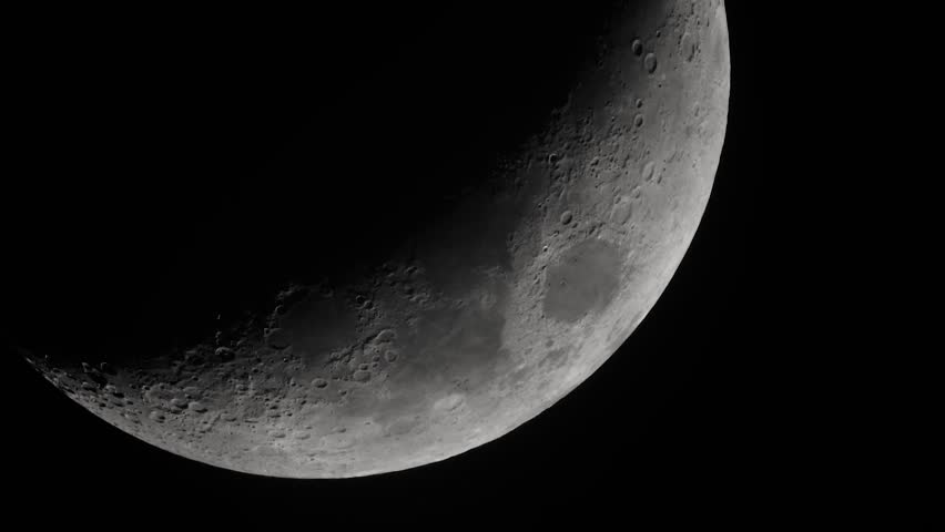 Moon in the night sky. Close-up - HD stock footage clip