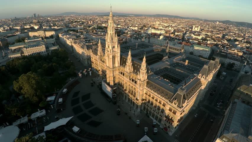 Aerial view. Vein. Vienna. Wien. Vienna City Hall. Rathaus. Austria. Shot in 4K (ultra-high definition (UHD)). #30644905