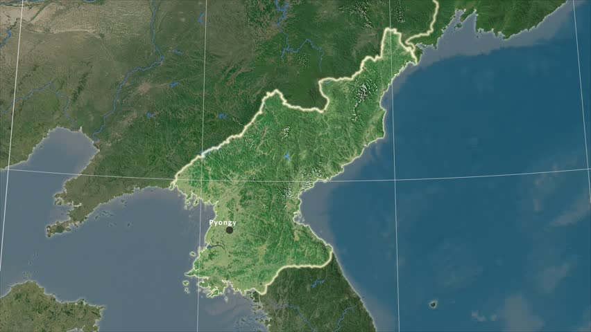 The North Korea area map in the Azimuthal Equidistant projection. Layers of main cities, capital, administrative borders and graticule. Satellite imagery