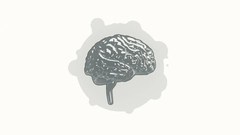 Animation rotation of brain in flat icon style on colorful background with circle with flying particles. Line art style. Animation of seamless loop.