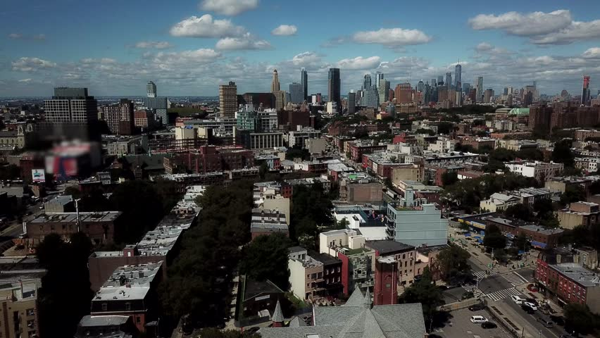 Bed Stuy Brooklyn, NYC AERIAL with Manhattan Skyline, 2017, Bedford-Stuyvesant area.