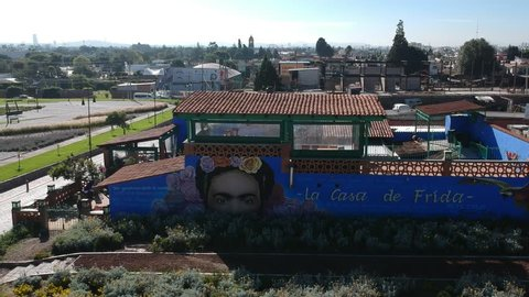 Cholula Mexico House of Frida Kahlo aerial shot in Puebla