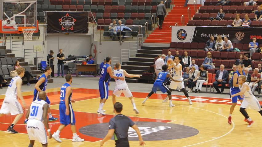 ST. PETERSBURG, RUSSIA - AUGUST 5, 2017: Basketball match Israel (blue) vs Finland during Kondrashin-Belov Cup. Israel won 97:92