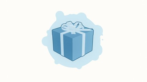 Animation rotation of gift box in flat icon style on colorful background with circle with flying particles. Line art style. Animation of seamless loop.