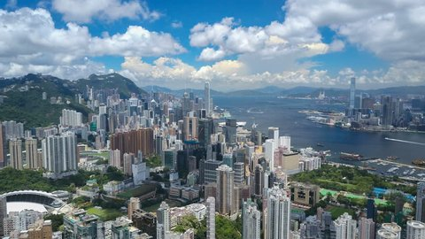 4k aerial hyperlapse video of Victoria Harbour in Hong Kong