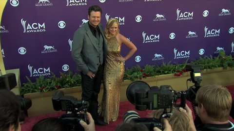 Las Vegas, NV APRIL 01, 2012: Miranda Lambert, Blake Shelton, walks the red carpet at the Academy of Country Music Awards 2012 held at the MGM Grand Garden Arena