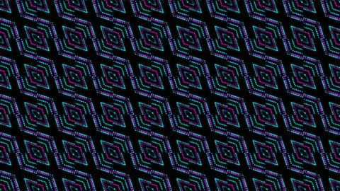 disco kaleidoscopes background with animated glowing neon colorful lines and geometric shapes for music videos, VJ, DJ, stage, LED screens, show, events.seamless loop.optical illusion