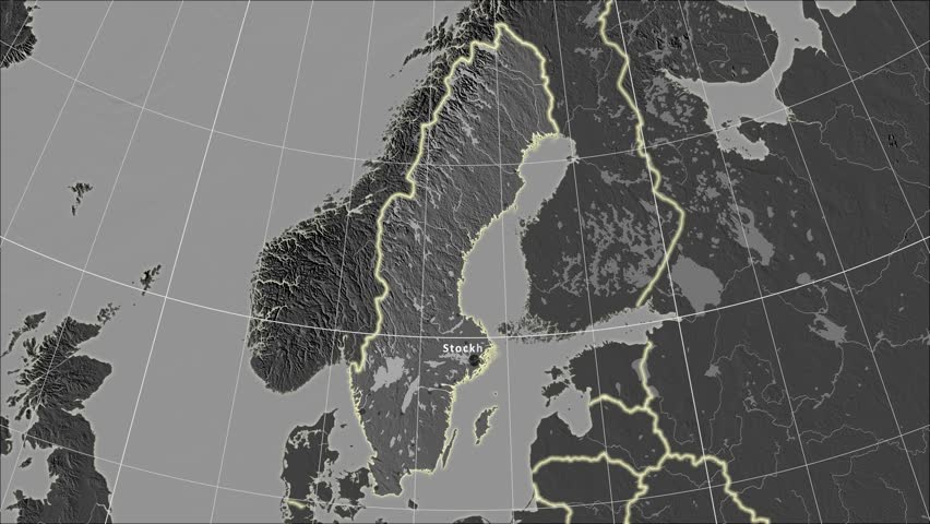 The Sweden area map in the Azimuthal Equidistant projection. Layers of main cities, capital, administrative borders and graticule. Elevation & bathymetry - grayscale contrasted