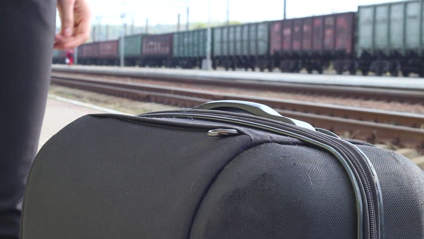 Young Woman Waiting To Leave In The Train Station With Many Luggage | Shutterstock HD Video #30858325