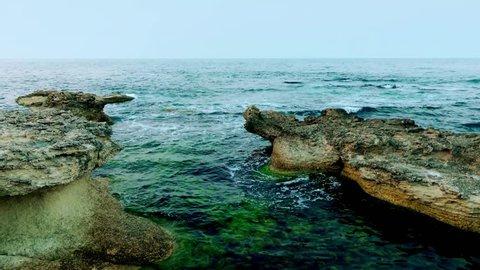 Waves breaking on rocks at the Bulgarian Black Sea coast near Sozopol.