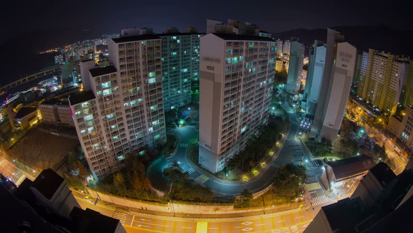 Seoul City 46) Time lapse of Seoul suburbs over 24 hours.