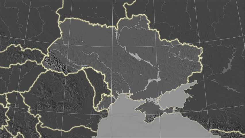 The Ukraine area map in the Azimuthal Equidistant projection. Layers of main cities, capital, administrative borders and graticule. Elevation & bathymetry - grayscale contrasted